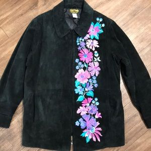 Suede coat the flowers